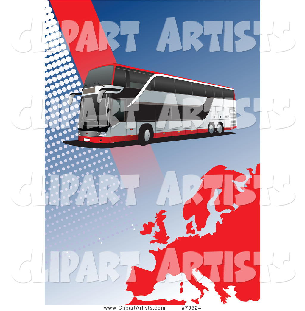 Modern City Bus Background with Halftone Dots and a Red Europe Map