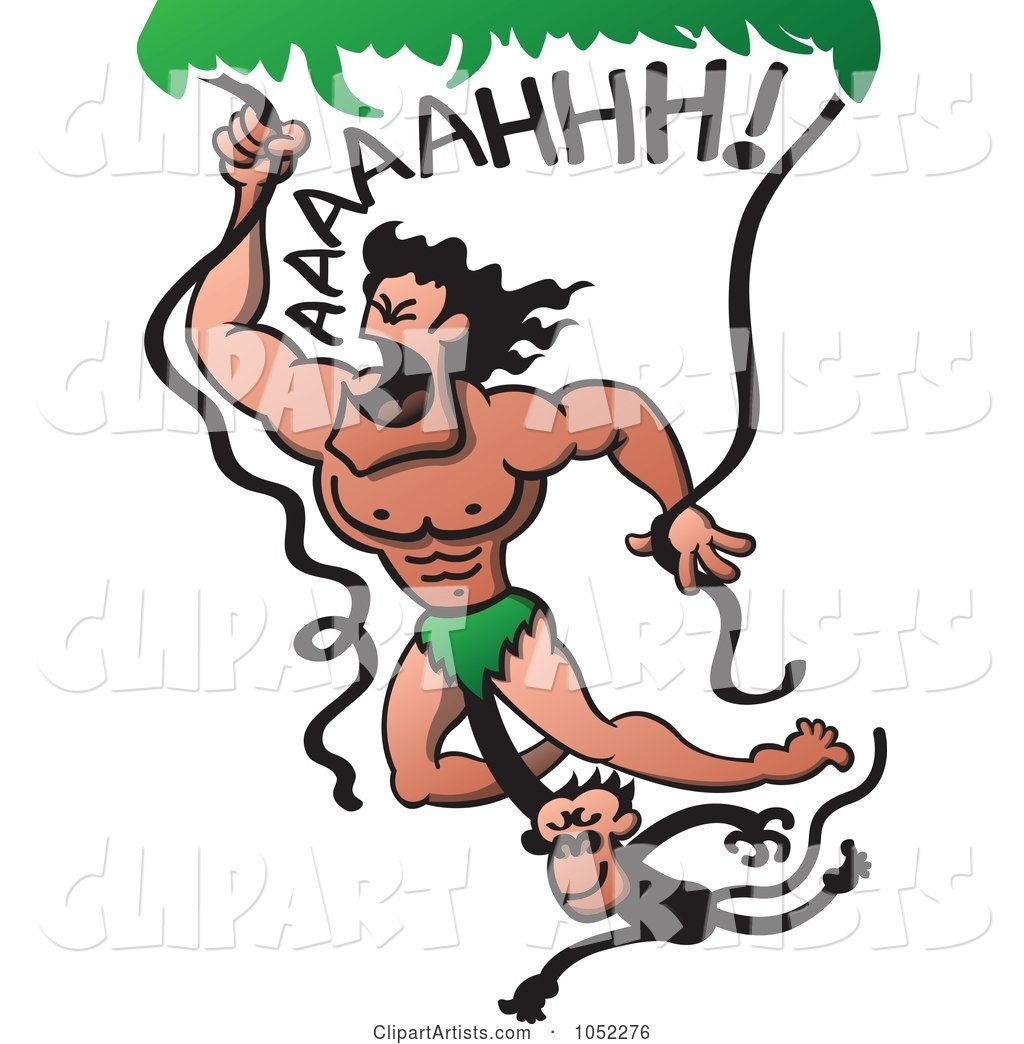 Monkey Hanging onto Tarzan Swinging from Vines