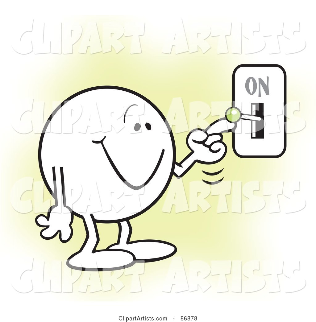 Moodie Character Smiling and Flipping a Switch on