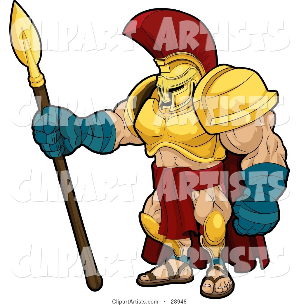 Muscular Spartan or Trojan Gladiator Warrior in Golden Armor, Standing with a Spear