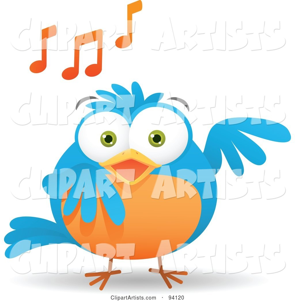 Musical Blue and Orange Bird Singing, with Music Notes