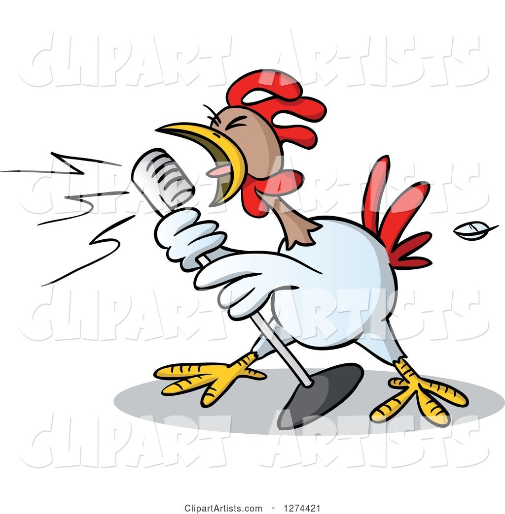 Musician Rooster Singing into a Microphone
