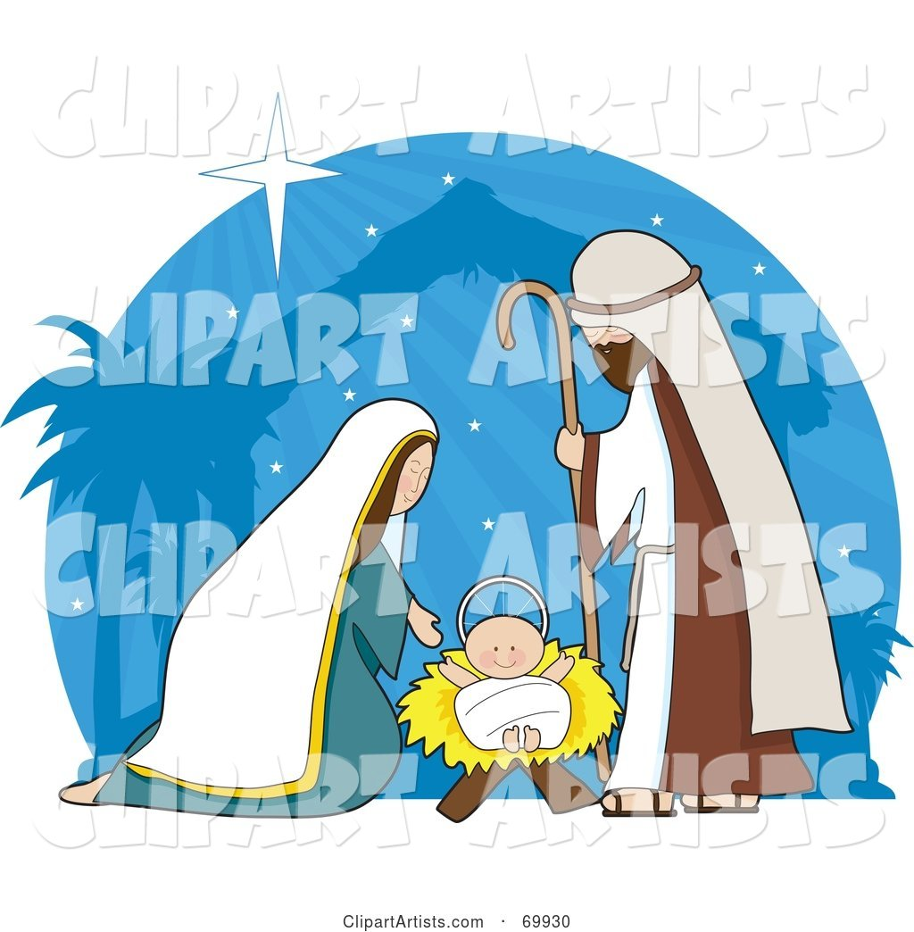Nativity Scene with a Blue Shining Background