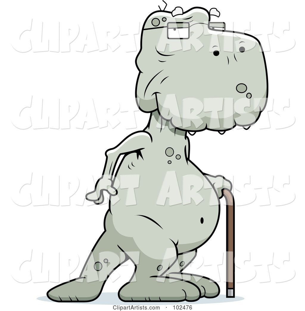 Old Dinosaur Using a Cane