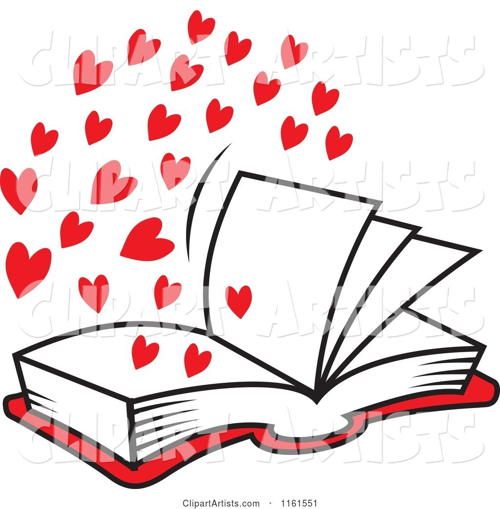 Open Book of Love with Red Hearts