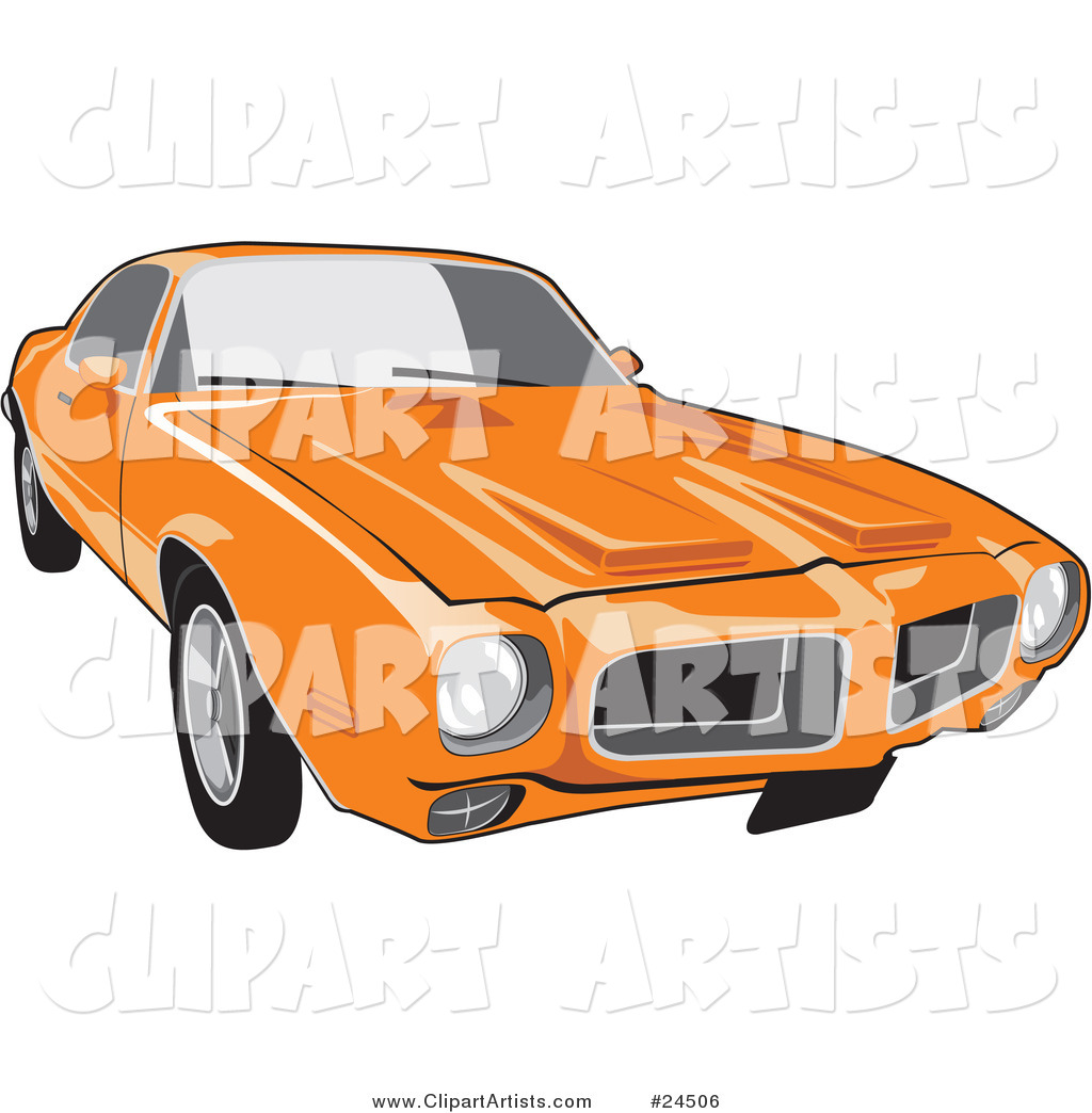Orange 1970 Pontiac Firebird with Hood Scoops, As Seen from the Front