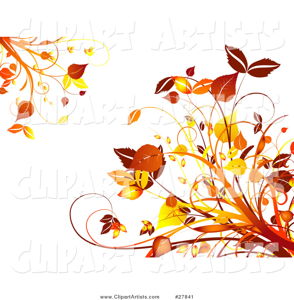 Orange and Yellow Autumn Leaves and Plants in the Upper Left and Lower Right Corners of a White Background