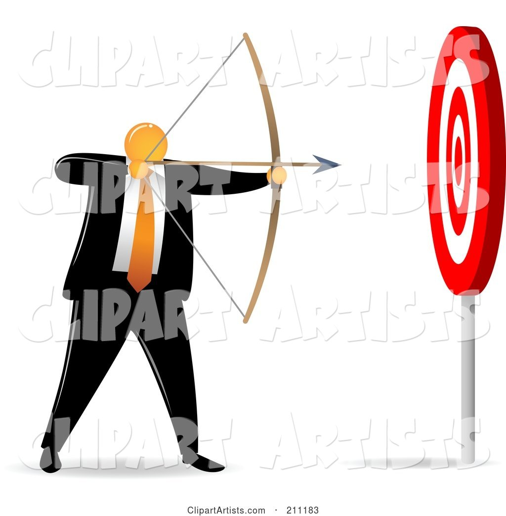 Orange Faceless Businessman Archer Aiming for an Easy Target