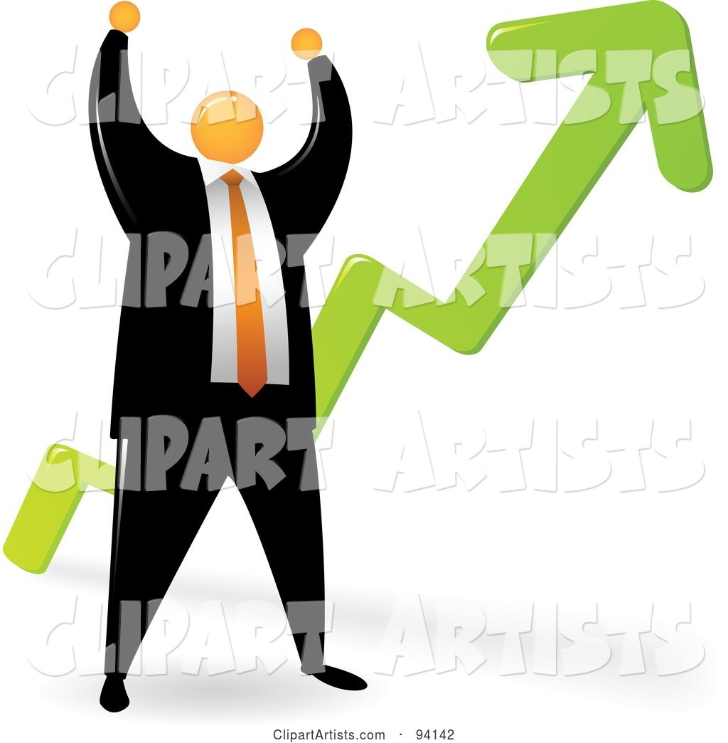 Orange Faceless Businessman Celebrating by a Growth Arrow