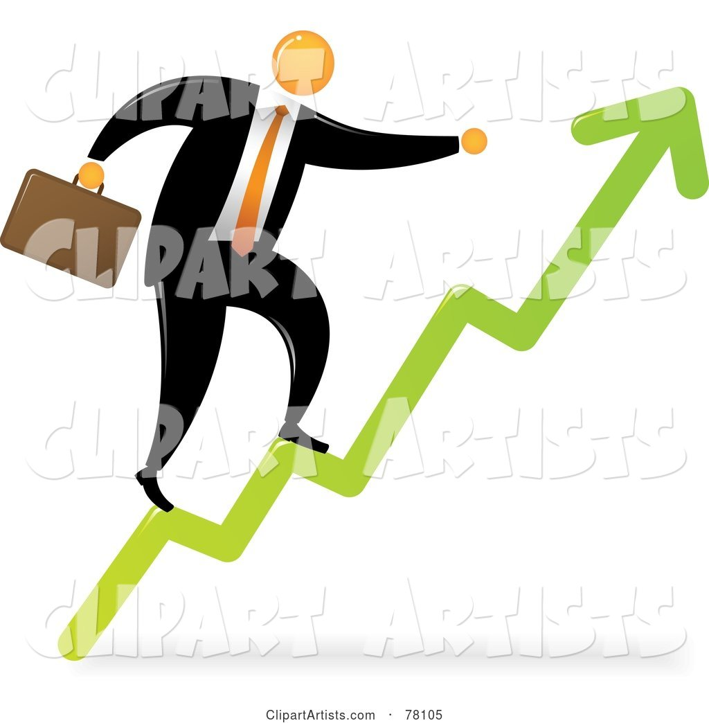 Orange Faceless Businessman Climbing the Arrow Steps to Success