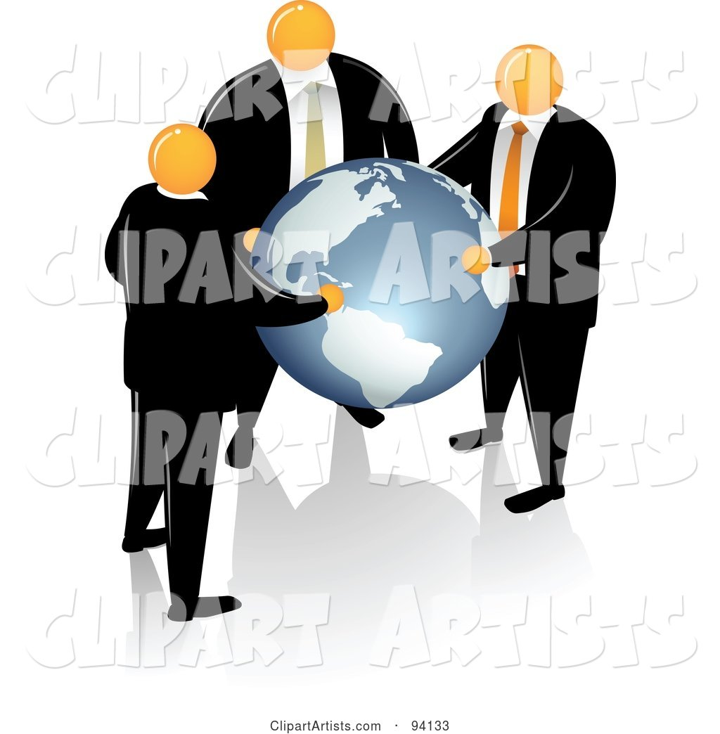 Orange Faceless Businessmen Supporting a Blue Globe