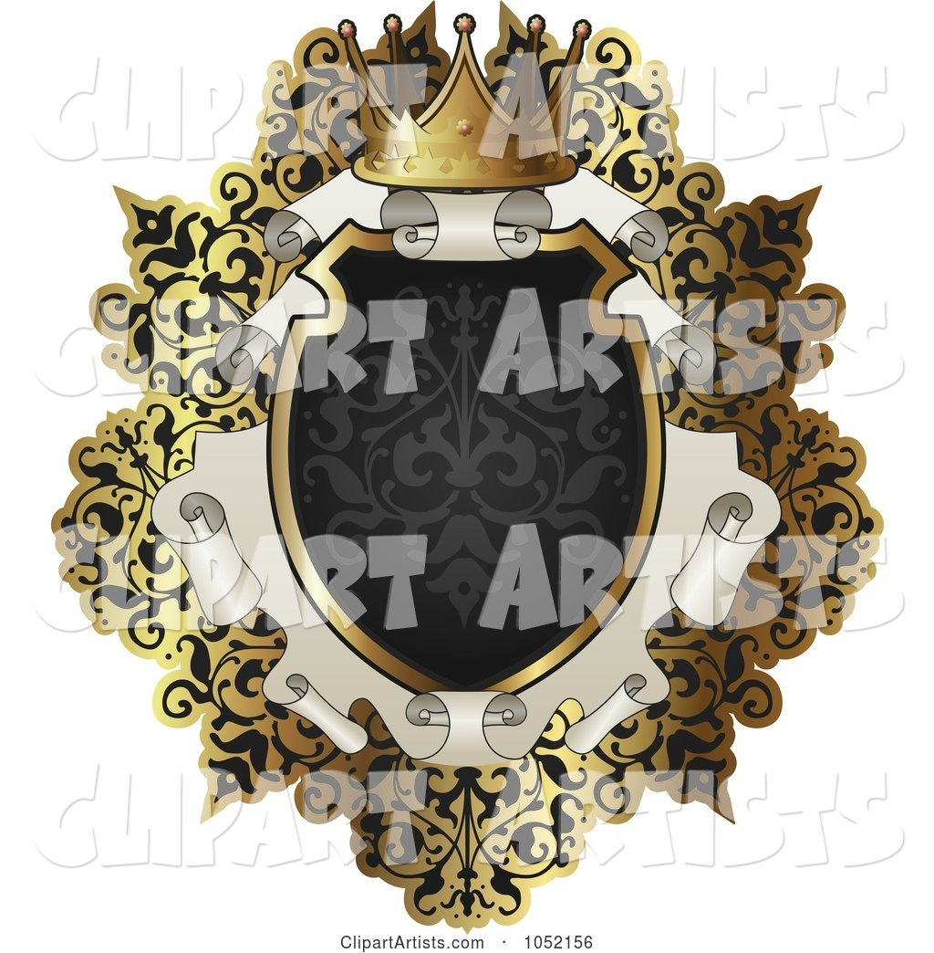 Ornate Black and Gold Scroll Frame with Copyspace