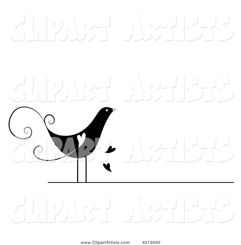 Ornate Black and White Bird Design with Hearts