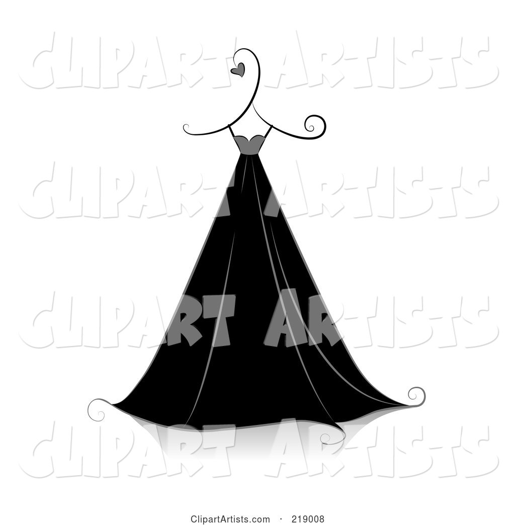 Ornate Black and White Dress Design with Hearts