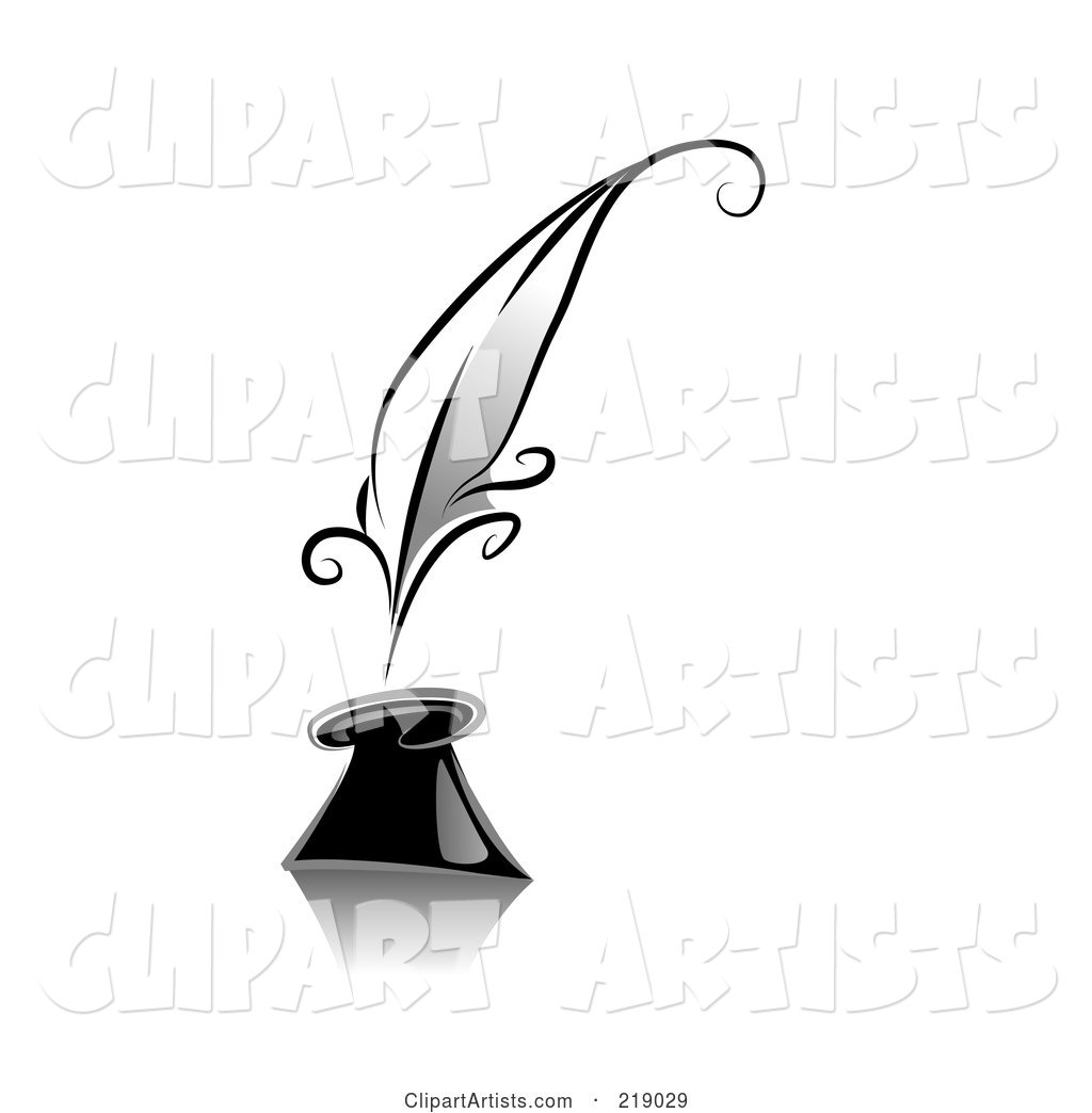 Ornate Black and White Quill and Ink Design
