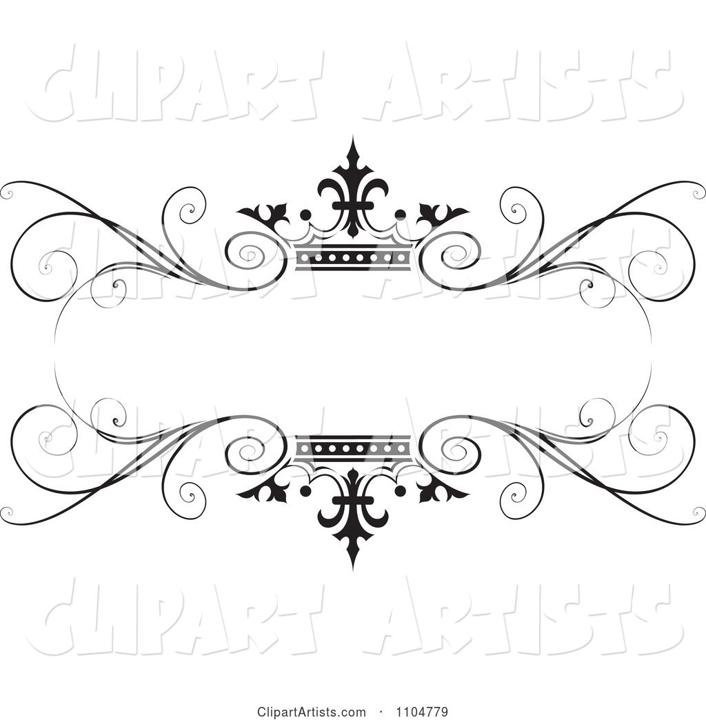 Ornate Black Swirl and Crown Wedding Frame