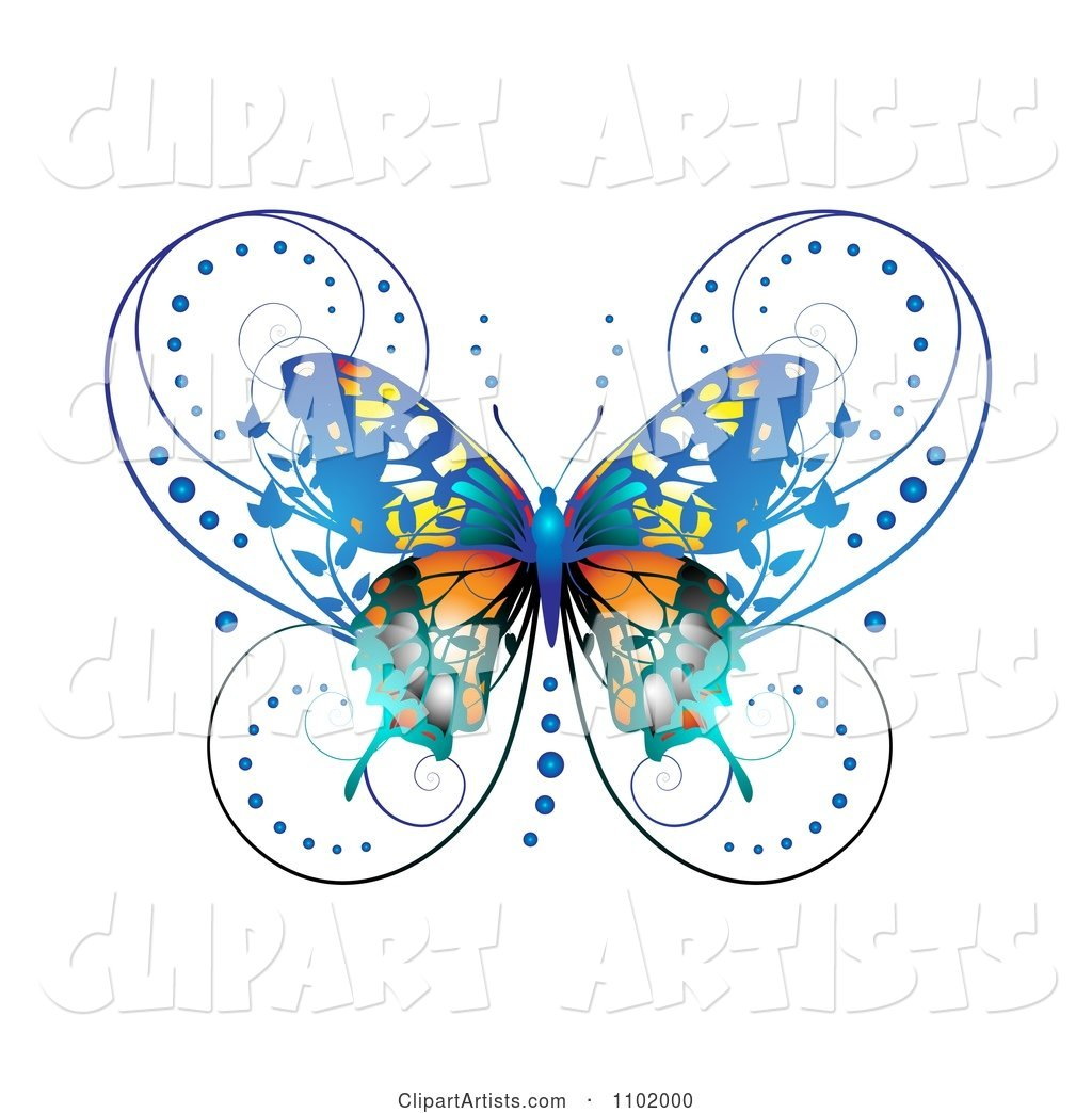 Ornate Blue Butterfly on White 1