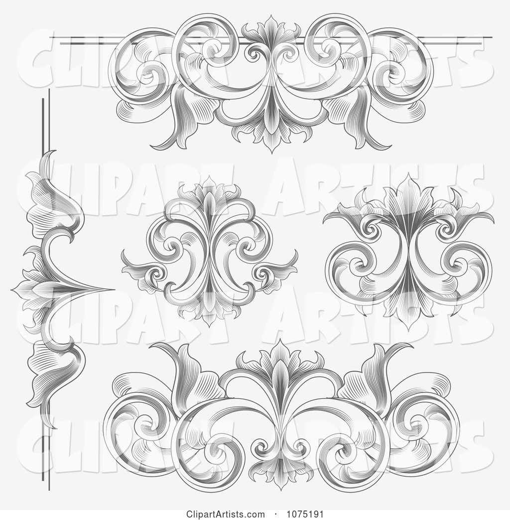 Ornate Etched Victorian Flourish Borders Rules and Design Elements