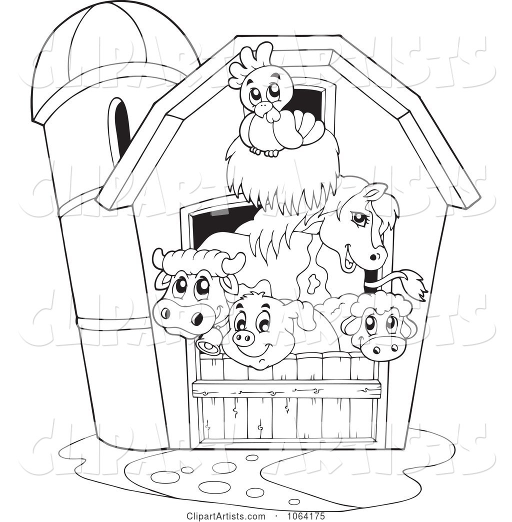 Outlined Barnyard Animals in a Barn