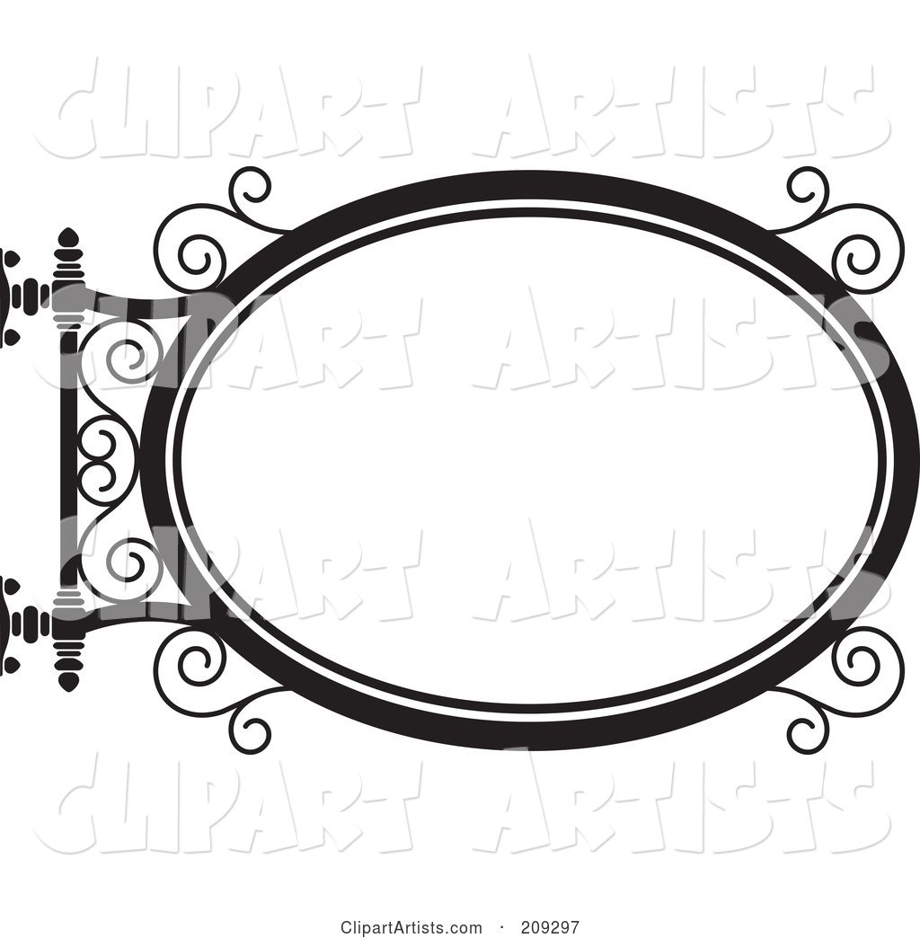Oval Wrought Iron Storefront Sign - 3