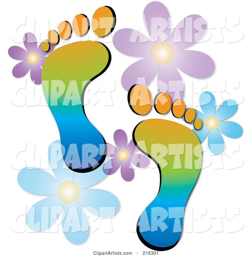 Pair of Colorful Human Footprints with Flowers
