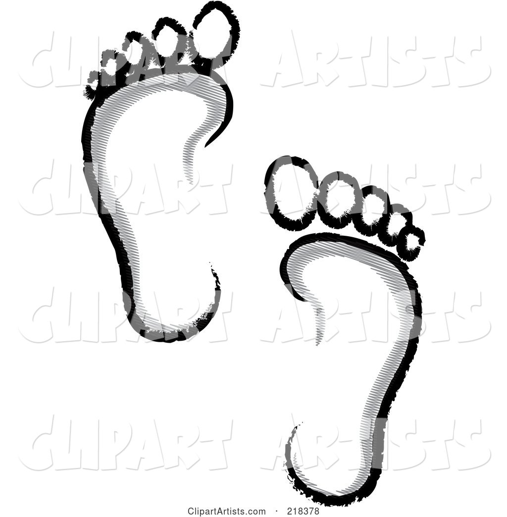 Pair of Gray, White and Black Human Footprints
