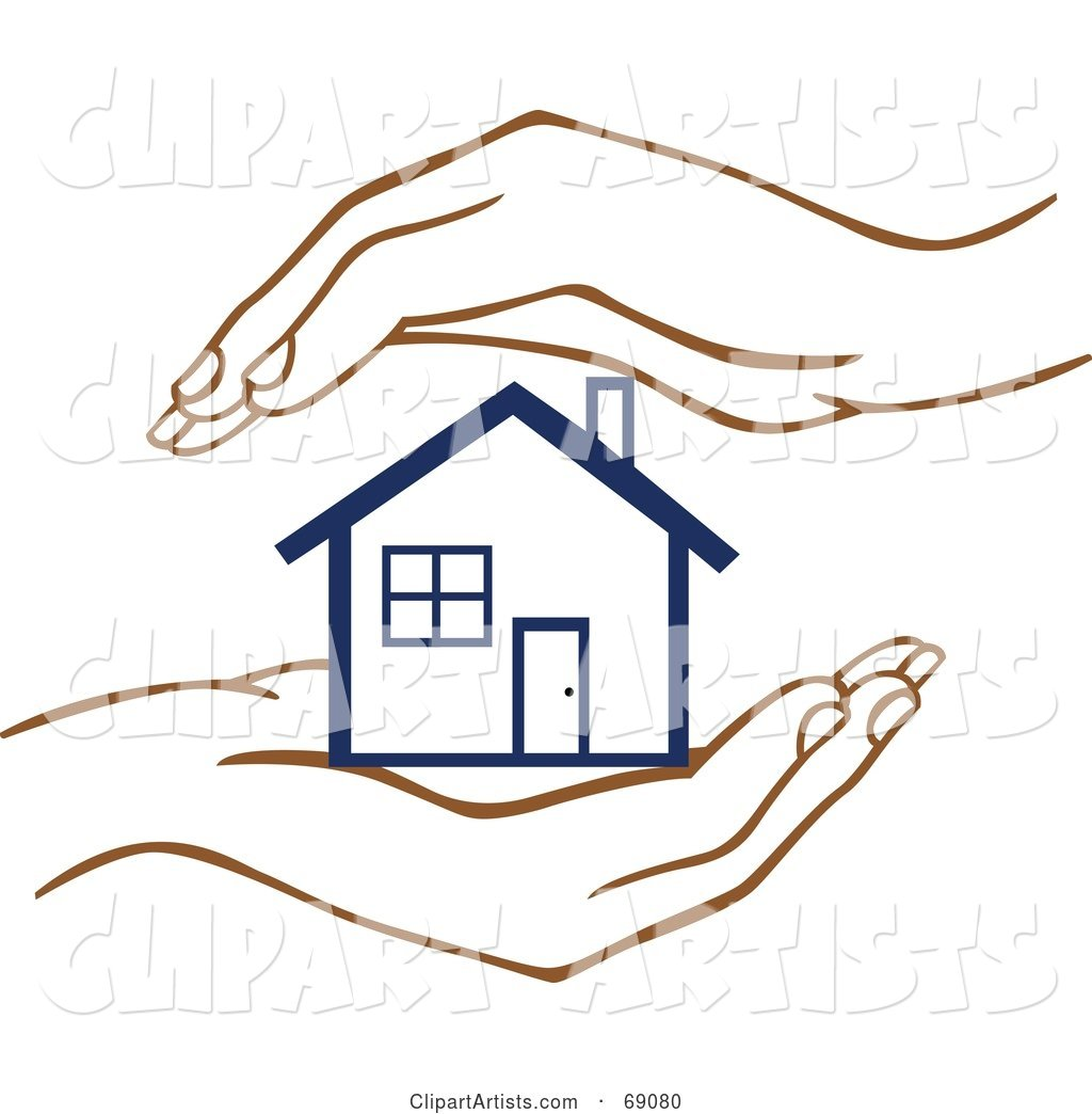 Pair of Human Hands Protecting a Blue Home