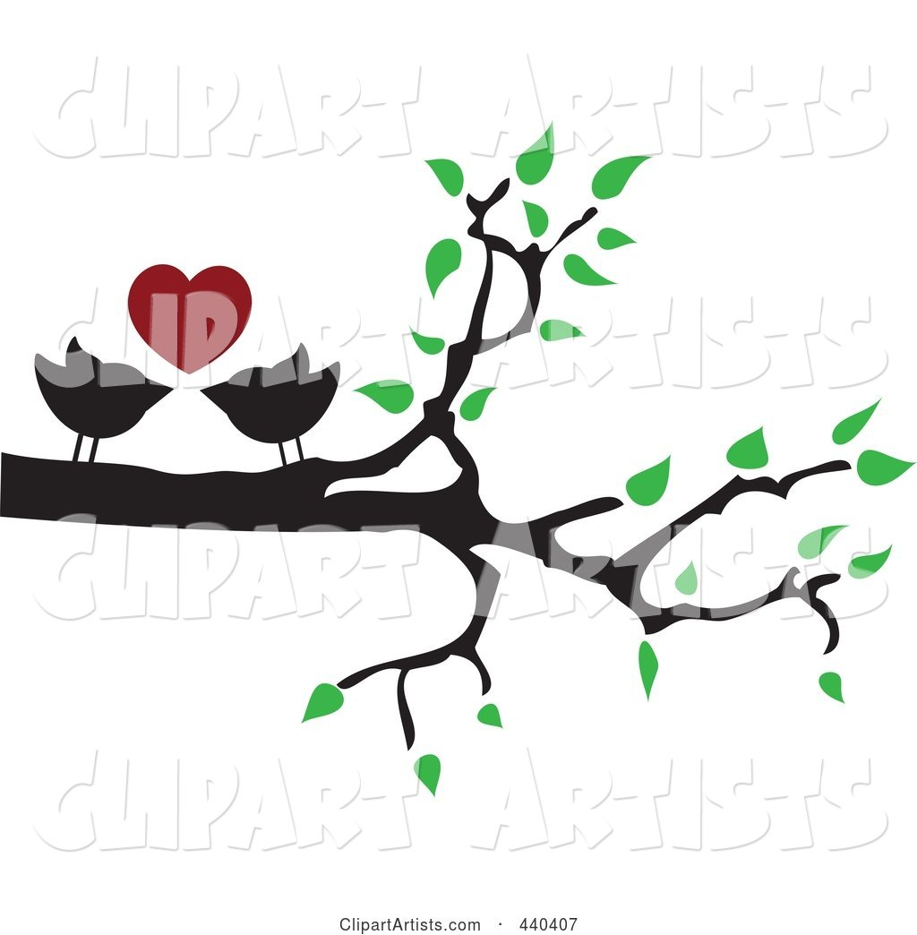 Pair of Love Birds Under a Red Heart in a Tree
