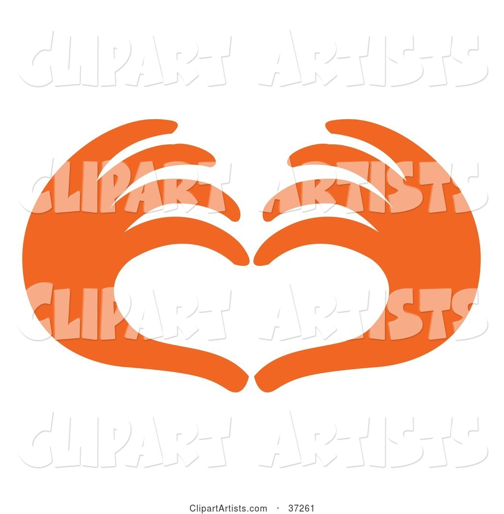 Pair of Orange Red Hands Forming the Shape of a Heart