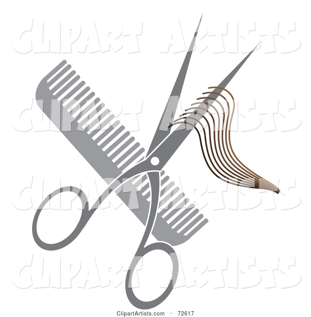Pair of Shears with Hair over a Gray Comb