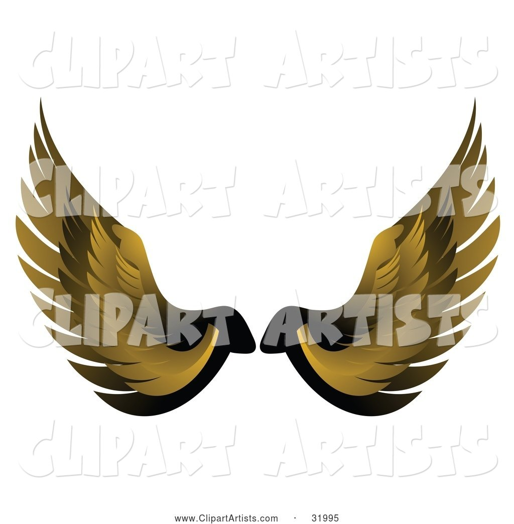 Pair of Yellow Bird or Angel Wings, Symbolizing Faith or Freedom, on a White Background