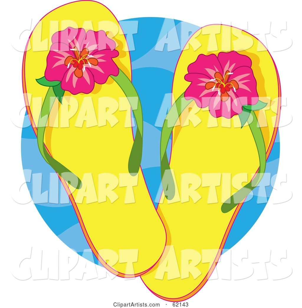 Pair of Yellow Flip Flops with Tropical Hibiscus Flowers over a Blue Circle