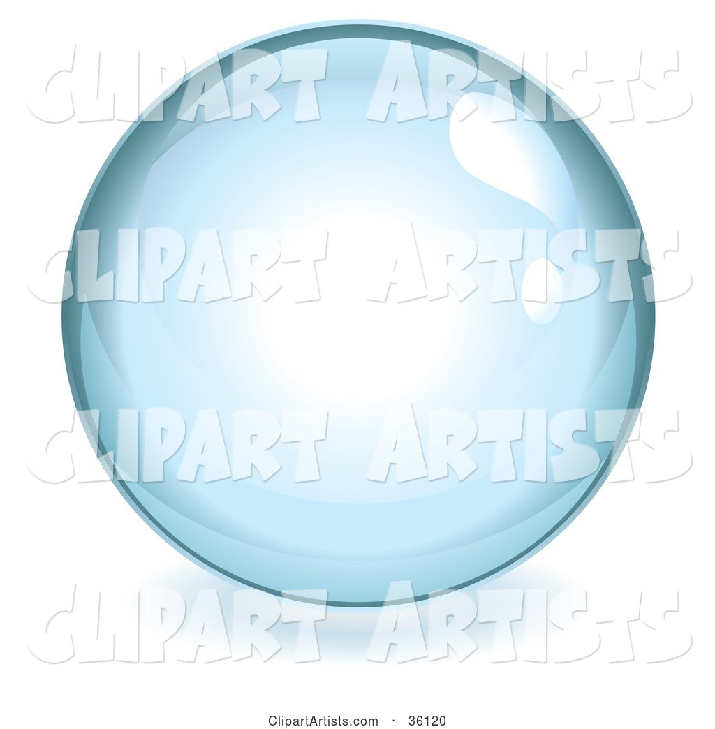 Pale Blue Reflective Crystal Ball, Marble or Orb