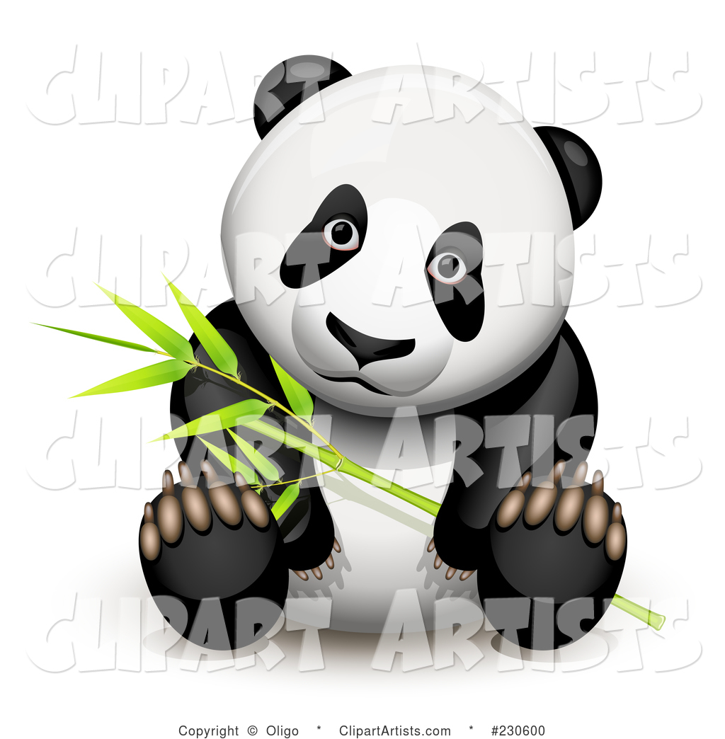 Panda Sitting and Holding Bamboo