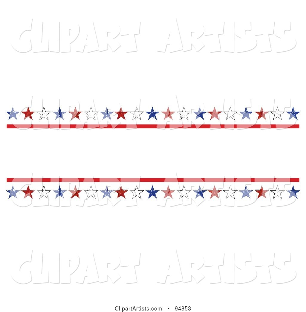 Patriotic Border of Red, White and Blue Grungy American Stars with Text Space