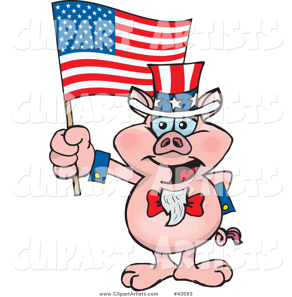 Patriotic Uncle Sam Pig Waving an American Flag on Independence Day