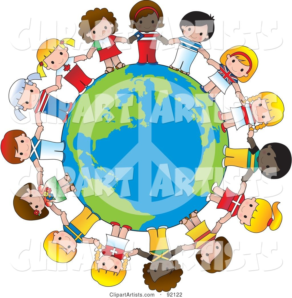 Peace Globe Circled by Cute International Girls Holding Hands