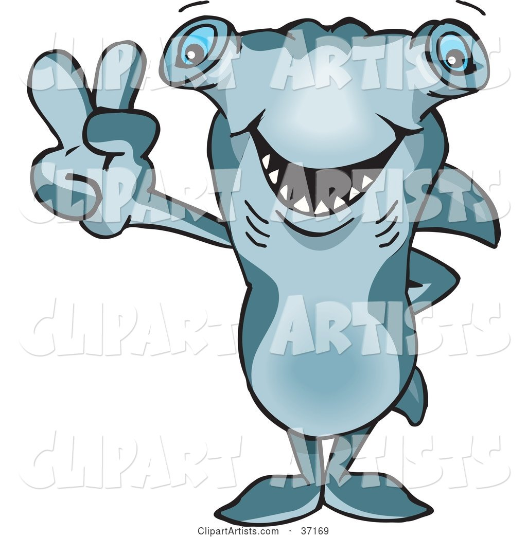 Peaceful Hammerhead Shark Smiling and Gesturing the Peace Sign