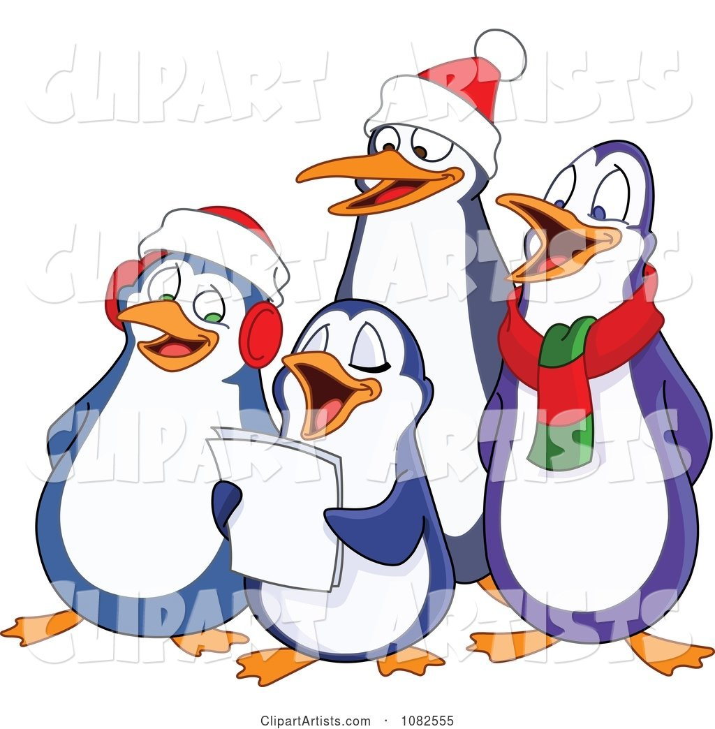 Christmas Carols Clipart.Penguins Singing Christmas Carols Clipart By Yayayoyo