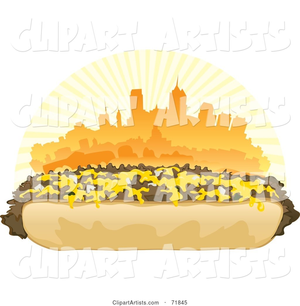 Philly Cheesesteak Sandwich in Front of an Orange Skyline