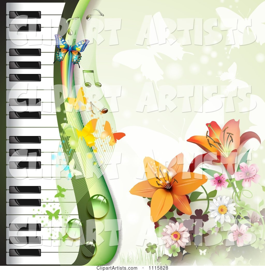Piano Keyboard and Lily Background with Butterflies on Green