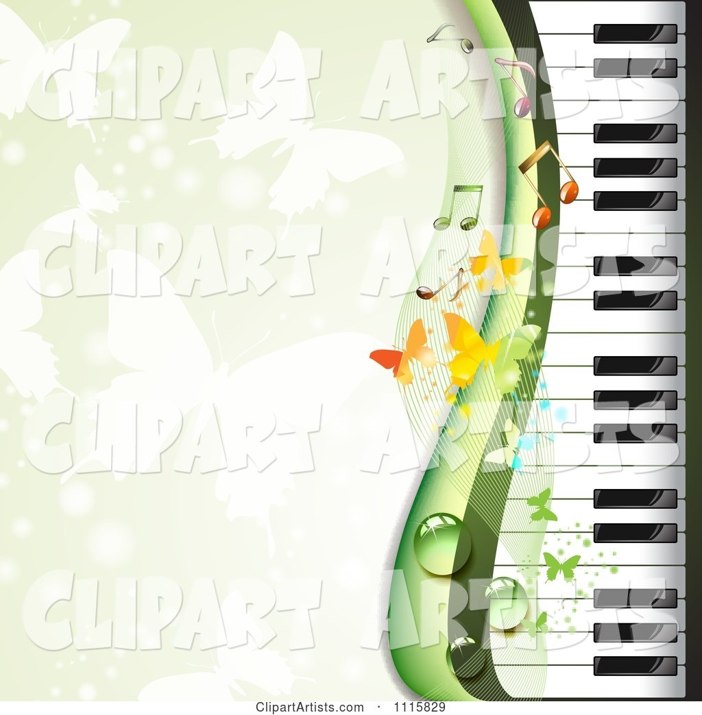 Piano Keyboard Background with Butterflies on Green