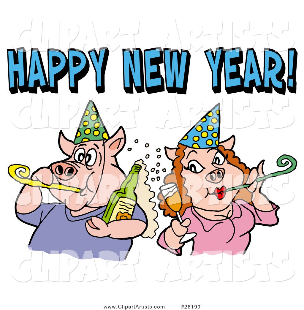 pig couple in party hats getting drunk and blowing noise makers under a happy new