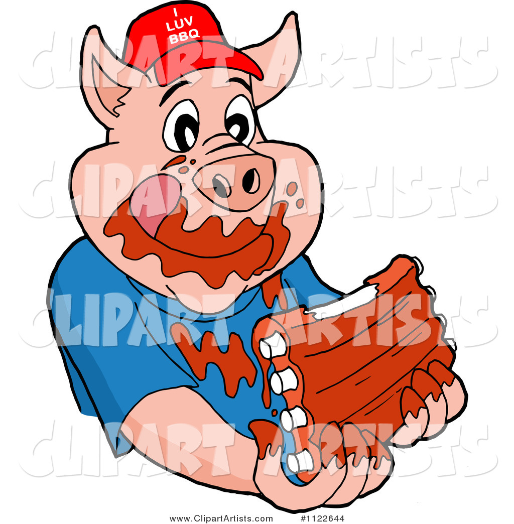 Pig Wearing a Hat and Eating Messy Ribs