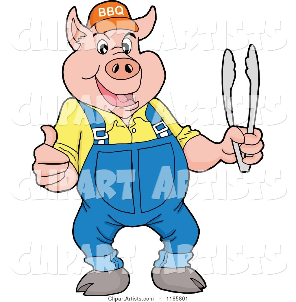 Pig Wearing Overalls and a Bbq Hat and Holding Tongs and a Thumb up