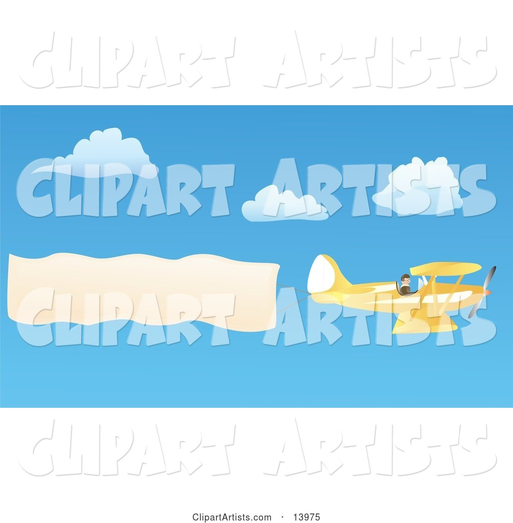 Pilot Flying a Yellow Biplane with a Plane Banner over a Blue Sky with White Puffy Clouds