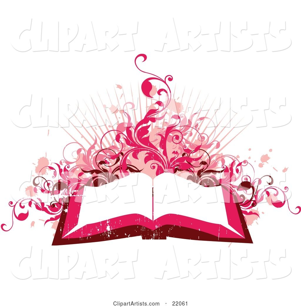 Pink and Red Toned Background of an Open Book with White Pages with Pink Paint Splatters, Vines and Bursts on White