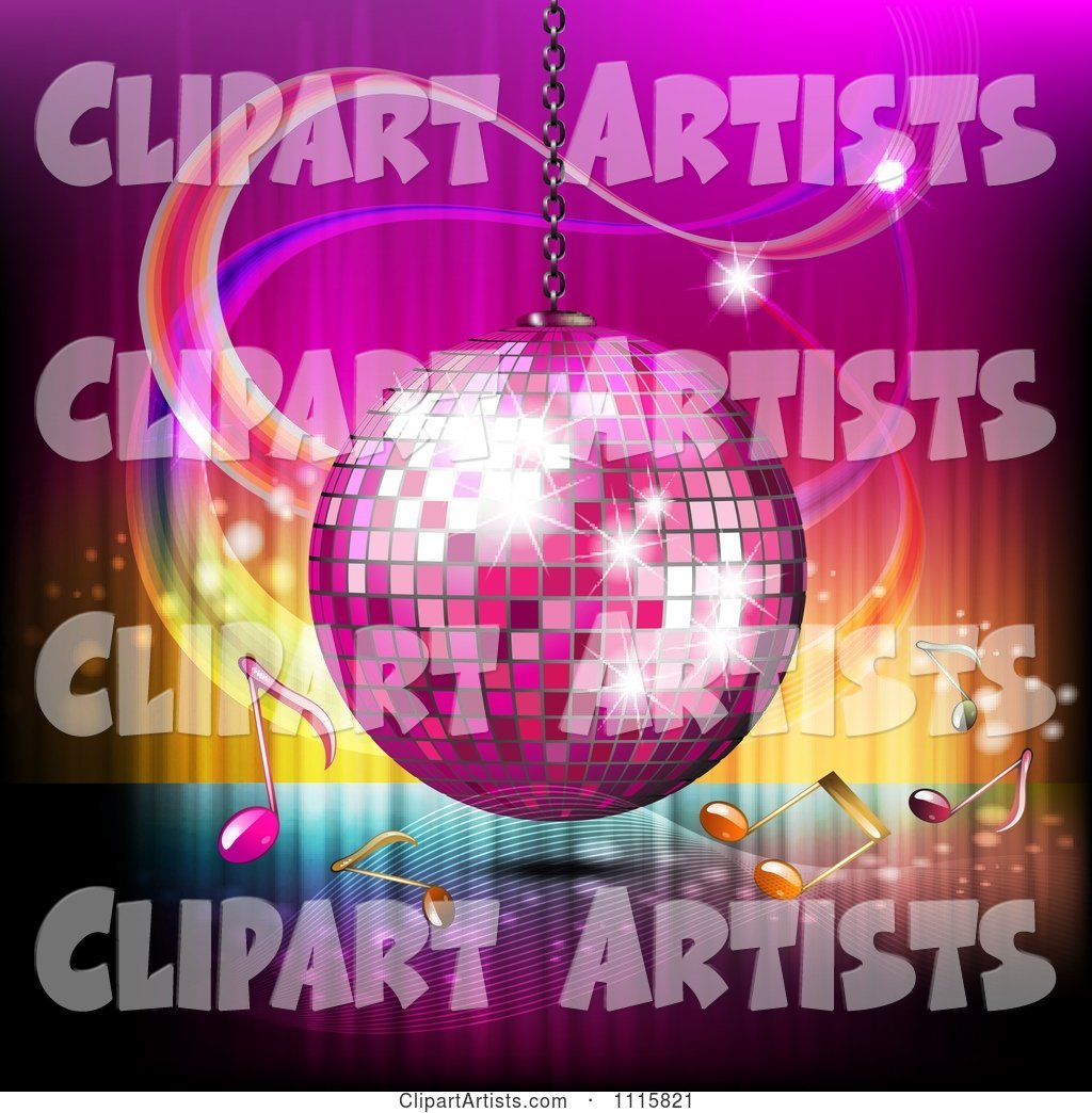 Pink Disco Ball and Music Notes over Gradient 2