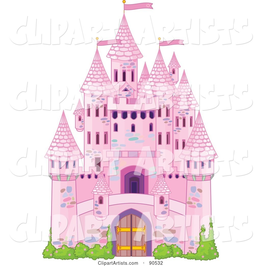 Pink Fairy Tale Castle with Turrets and Shrubs