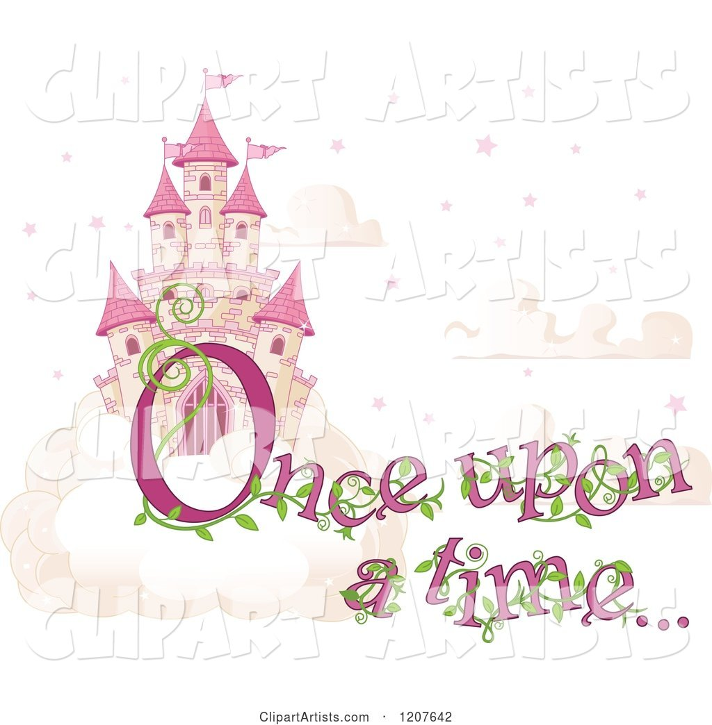 Pink Fairy Tale Sky Castle with Once upon a Time Text